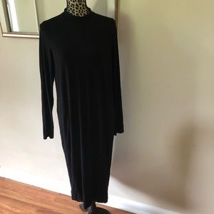 Eileen Fisher Solid Black Mock Neck Midi Dress M